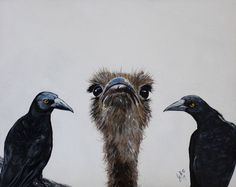 """Buy """"Nothing to see here, only us Currawongs!"""", Acrylic painting by Julie Hollis on Artfinder. Discover thousands of other original paintings, prints, sculptures and photography from independent artists. Quirky Art, Weird Art, Paintings For Sale, Original Paintings, Sculptures, Artists, Bird, Artwork, Photography"""