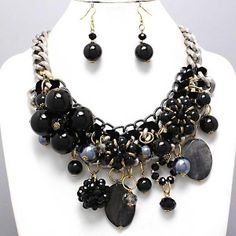 Big Bold Chunky Silver Black Cracked Design Stone & Beads Curb Link Necklace Set