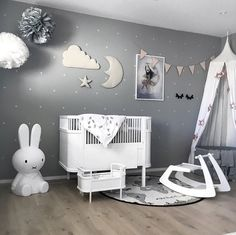 a beautiful kid's room by @stine.moi. Miffy lamp, Rosaline doll bed and OYOY The World rug are all available at www.istome.co.uk