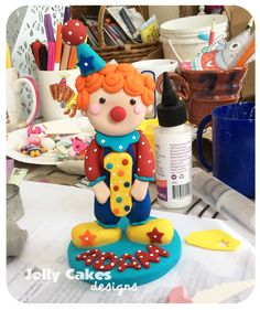 Cutie Clown birthday cake topper ~handcrafted from polymer clay~