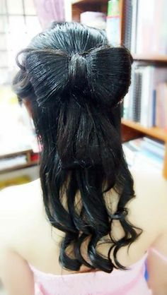 I  bow! Girls  Bow! Lovely Bow hairstyle done for a pretty young lady!! To match with her lady pink dinner dress, I have tied her a big bow hair with curl at the bottom part!