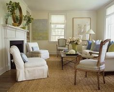 "Pure Style Home: ""Natural"" Rugs: Seagrass, Sisal, Jute, Synthetic & Wool Rugs: The Low-Down     Great article, and I like this room arrangement...."