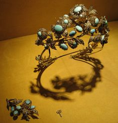 Diamond and cabochon turquoise tiara, c1860 by Mellerio dits Meller. With detachable brooch fittings.