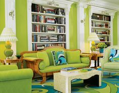 Living Room : Modern Green Living Room Interior Design with Unique White Table ~ HeimDecor Colourful Living Room, Living Room Green, My Living Room, Living Room Decor, Colorful Rooms, Cozy Living, Living Area, Room Interior Design, Home Interior
