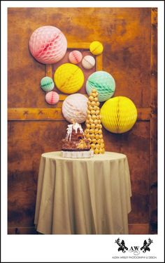 bee theme cake for bridal brunch shower. honeycomb paper balls and meant to bee theme