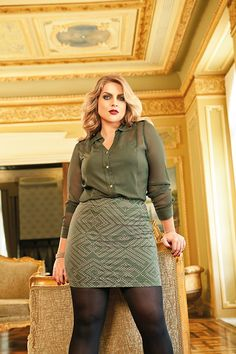 green Curvy girl BBW Plus Size Fashion Model Thick
