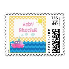 Gingham pink ship nautical yellow baby girl shower custom postage stamp. #babyshower, #postagestamp, #stamp, #babygirl, #ship, #gingham See more designs here http://www.zazzle.com/yourbirthday/gifts?cg=196264960425734313=238228936251904937=zBookmarklet
