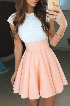 Short Homecoming Dresses, Pearl Pink Short Chiffon Homecoming/Prom Dress #shorthomecomingdresses #homecomingdresses #pinkdresses #partydresses