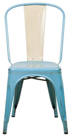 Raw Vintage Tolix Chair, Light Blue modern chairs
