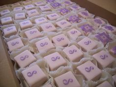 stenciled wedding shower petit fours — Mini Cakes / Petit Fours