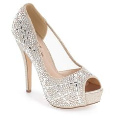 "Lauren Lorraine 'Viva' Crystal Peep Toe Pump, 4 3/4"" heel ($110) ❤ liked on Polyvore featuring shoes, pumps, nude, nude shoes, sparkle platform pumps, high heel platform shoes, nude high heel shoes and peep-toe pumps"
