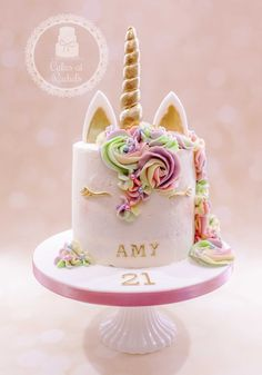 21st birthday unicorn cake - gold, glitter and pastel rainbow swirls