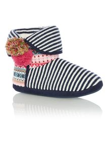 Multicoloured Patchwork Knitted Boot