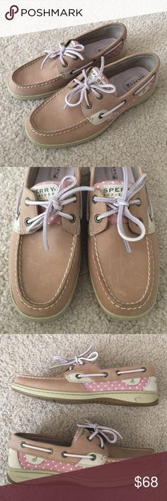 Sperry Top-Sider Boat Shoes Excellent condition, worn only for a few days, tan leather and pink with white polka dots canvas detail boating shoes by Sperry Top-Sider. Size 7.5. There are very tiny nearly not noticeable scratching and dirt marks. Refer and zoom in on the photos. Please ask questions 💫 Sperry Top-Sider Shoes Flats & Loafers