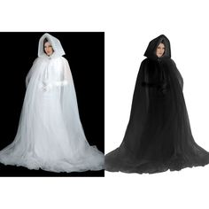 Sheer cape with a hood instead of a veil??? Ghost Cape Costume Adult Hooded Cloak Black or White Halloween Fancy Dress #Charades