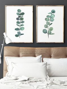 Eucalyptus Branch Watercolor Painting set of 2 Eucalyptuses Green Living Room Wall Decoration. Scandi Nordic Decor Botanical Poster. Kitchen Giclee Fine Art Print Minimalist Illustration. A price is for the set of 2 Eucalyptus Art Prints as in the first Picture.  Type of paper: Prints up to (42x29,7cm) 11x16 inch size are printed on Archival Acid Free 270g/m2 White Watercolor Fine Art Paper and retains the look of original painting. Larger prints are printed on 200g/m2 White Semi-Gl...
