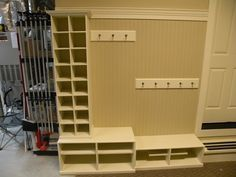 storage for coats and shoes in garage