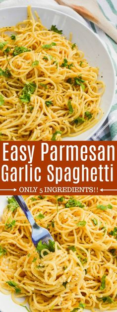Need dinner in less then 30 minutes? This 5 Ingredient Parmesan Garlic Spaghetti will do the job and is a easy recipe that your family will LOVE! Creamy Pasta Recipes, Healthy Pasta Recipes, Healthy Pastas, Real Food Recipes, Cooking Recipes, Apitizer Recipes, Gnocchi Recipes, Garlic Recipes, Noodle Recipes