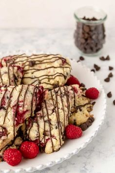 Fresh raspberry chocolate chip scones are a delicious treat for brunch or tea! Freezer friendly, use fresh or frozen fruit in this easy scone recipe. Oatmeal Scones, Mini Scones, Fruit Scones, Raspberry Chocolate, Chocolate Flavors, Raspberry Scones Recipe Easy, Baking Recipes, Dessert Recipes, Desserts