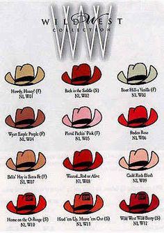 Wild West Collection 1999 - spring/summer - W01 Howdy Honey   W02 Back in the Saddle   W03 Boot Hill-a Vanilla  W04 Wyatt Earple Purple   W05 Pistol Packin' Pink    W06 Rodeo Rose   W07 Balin'Hay in Santa Fe   W08 Wanted Red or Alive   W09 Gold Rush Blush  W10 Home on the O-range   W11 Head'em Up Mauve'em Out   W12 Wild West Wild Berry