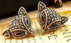 Amazon: NEW Foxy Fox Crystal Studded Post Stud Pierced Earrings
