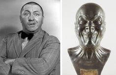 J. Paul Getty Museum LEFT: Curly Howard. © 2012 C3 Entertainment, Inc.  RIGHT: A Strong Man, after 1770, Franz Xaver Messerschmidt. Tin-lead alloy. Private Collection
