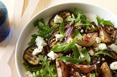 Eggplant, roasted red onion, feta and mint salad - Try your hand at this gutsy flavoured, Mediterranean-inspired salad.