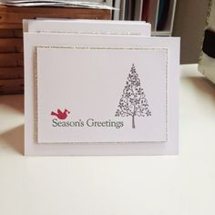 SU: Festival of Trees--silver embossing, VersaMark, Real Red, Garden Green, Four the Holidays