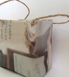 I made this cute little bag out of newspaper and cardboard! #DIY #cute #newspaper #bag