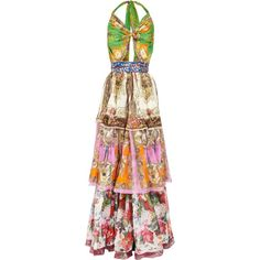 D Tiered printed silk maxi dress found on Polyvore