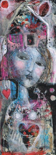 Mixed Media Painting Original Modern Folk Art  by kittyjujube, $74.00