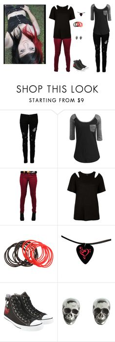 """""""Jessicka Micah"""" by miss-morbid-13 ❤ liked on Polyvore featuring Religion Clothing, Wet Seal, Criminal Damage, Topshop, Converse and King Baby Studio"""
