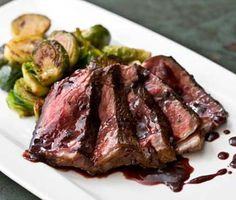 This restaurant-quality steak dish is sure to impress your guests. Serve this seared pepper steak with caramelized Brussels Sprouts and look like a pro! Steak Dinner Recipes, Steak Recipes, Cooking Recipes, Lamb Recipes, Cooking Tools, Yummy Recipes, Curtis Stone Recipes, Steak Dishes, Classic French Dishes
