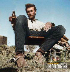 Clint Eastwood relaxing on the set of, 'The Good, The Bad, & The Ugly, Classic Hollywood, Old Hollywood, Clint And Scott Eastwood, Tv Westerns, Cat Condo, Iconic Movies, Historical Photos, Acting, Celebrities