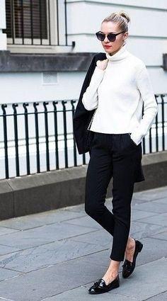 perfect...black trousers, cream jumper, black patent loafers | #perfectblack