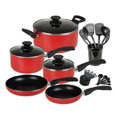 Gibson Cuisine Select Windberg 25-Piece Cookware Combo Set, Red