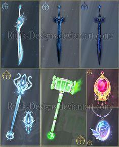 Commissions by Rittik-Designs on DeviantArt Anime Weapons, Fantasy Weapons, Devian Art, Magical Jewelry, Art Corner, Weapon Concept Art, Magic Art, Fantasy Jewelry, Fantasy Artwork