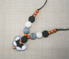 Butterfly Crochet Teething Nursing necklace Wooden by NittoMiton