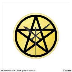 Yellow Pentacle Clock