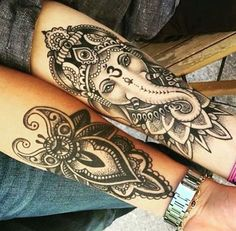 ganesha tattoo unterarm - so badass. Buddha Elephant Tattoo, Buddha Tattoos, Elephant Tattoos, Body Art Tattoos, Hand Tattoos, Sleeve Tattoos, Tatoos, Mandala Elephant, Ganesha Tattoo Lotus