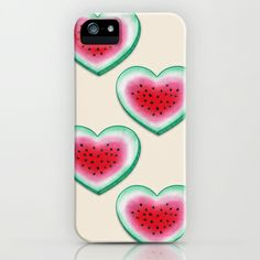 Summer Love - Watermelon Heart iPhone & iPod Case by Perrin Le Feuvre - $35.00. Available on different Iphone models and samsung galaxy phones...