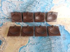 SALE! 8 mod square dark brown brass metal handles with oval centers