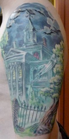 Damon Conklin, Super Genius Tattoo, Seattle WA, color tattoo, haunted house, spooky tattoo