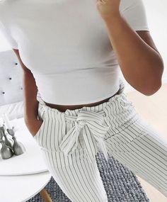 New Plaid High Waist Harem Pants Women Summer Style Ankle-length Pants - sheheonline Korean Fashion Casual, Womens Fashion Casual Summer, Women's Summer Fashion, Fashion Fall, Fashion Tips, Fashion Trends, Simple Fall Outfits, Ankle Length Pants, White Pants