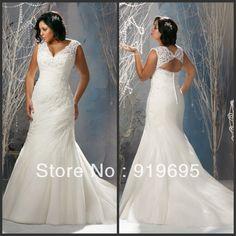 lace full back wedding dress plus size - Google Search