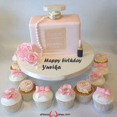 Makeup Birthday Cake for Girls - eNameWishes Diva Birthday Cakes, Makeup Birthday Cakes, Chanel Birthday Cake, Birthday Cake Girls, Birthday Cupcakes, Birthday Msgs, Elegant Birthday Cakes, Coco Chanel Cake, Chanel Cupcakes