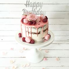 Pink drip birthday cake by Blossom & Crumb Pink drip bi. Pink drip birthday cake by Blossom & Crumb Pink drip birthday cake by Blos 22nd Birthday Cakes, 21st Birthday Cake For Girls, Pink Birthday, 50th Birthday, Birthday Cake With Flowers, 18th Cake, Cupcake Cakes, Cupcakes, Baby Cakes