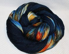 Glitter sock yarn Night Fireworks hand dyed sw merino nylon stellina fingering weight 3.5oz 435 yards