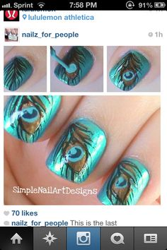 Peacock nails idea!! @Kellie Dyne Dyne Dyne Dyne Owens !Wedding!! (: