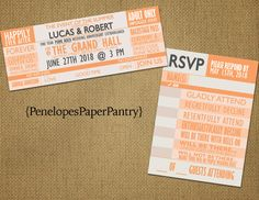 Concert Ticket Theme Wedding Invitations by PenelopesPaperPantry